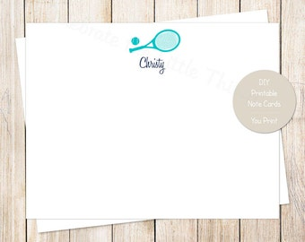 PRINTABLE personalized tennis note cards, notecards . personalized stationery . flat stationary . tennis racket tennis ball . You Print