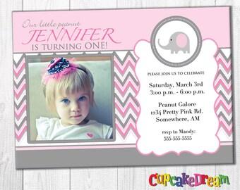 First Birthday Invitations, Elephant Birthday Party