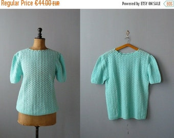 40% OFF SALE // Vintage crochet top. Aqua wool crochet sweater