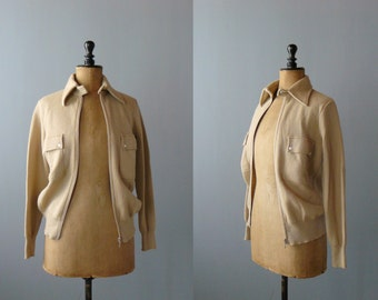 Vintage sweater. Deadstock 1970s cardigan. Camel zipped cardigan