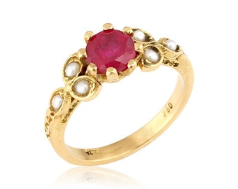 14K Gold Art Nouveau Engagement Ring, Pearl and Ruby Engagement Ring, July Birthstone, Ruby Flower Ring, Vintage Stye, Ruby Weding Ring
