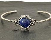 Silver Cuff Bracelet, Blue Lapis Bracelet, Silver Bangle, Boho Cuff Bangle, Lapis Bracelet, Bangle Bracelet, Gemstone Bangle, Lapis Jewelry