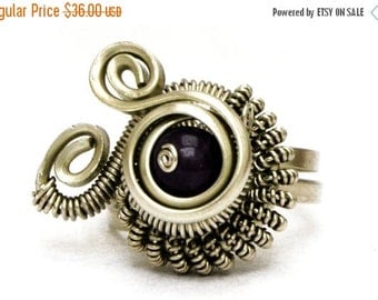 Steampunk Amethyst Ring Wire Wrap Ring Purple Stone Ring Gothic Ring  Gemstone Ring Metalwork Ring Solitaire Ring Silver Wire Ring
