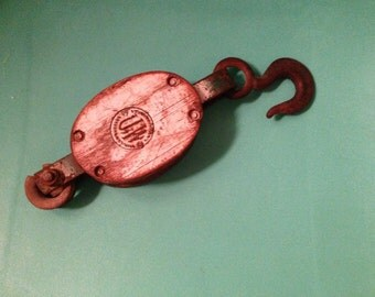 Metal & Wood Industrial Antique Pulley with Hook