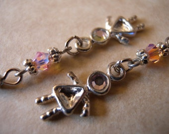 Pretty Girly Dangle Earrings with Pink Swarovski Crystals - Teen, Tween, Child, Young Girl, Young at Heart
