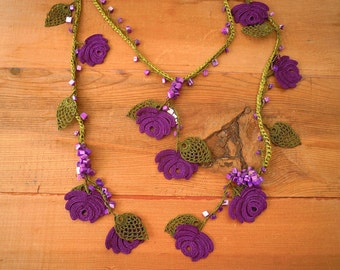 green and purple rose necklace, crochet flower leaf, turkish oya