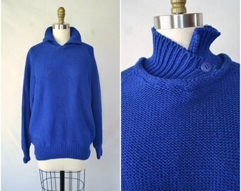 vintage royal blue preppy sweater / all American pullover / oversized plus size