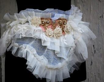 Belt, sash, shabby chic, Marie Antoinette, victorian, bridal belt, tatter punk, cream , pink,romance, jane austen, ruffle sash, fall wedding