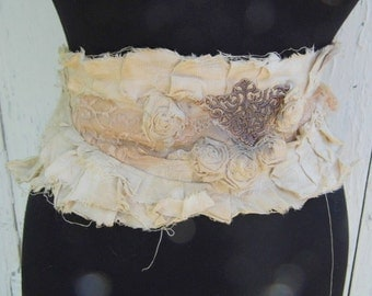 Victorian cream dream lace sash with flowers and lace, upcycled crochet jane austen belt, shabby chic women tattered lace, roses and romance