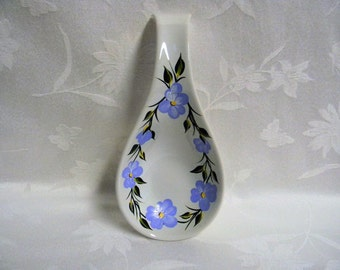 Hand painted spoon rest, large spoon rest, painted blue flowers
