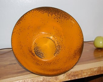 "Mid Century Hanova of Pasadena Large 12"" Orange Brutalist Enamel Bowl ~ Excellent Condition"
