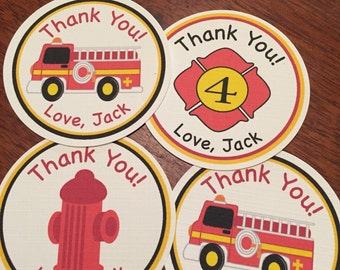 Fire truck, Baby Shower Favor Tags or Birthday Party Favor Tags, Set of 12 Favor Tags