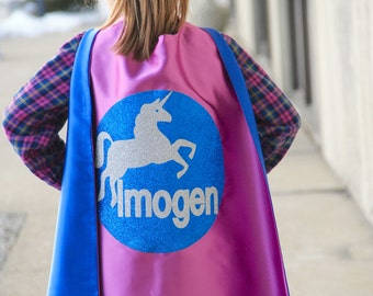 Fast Shipping - SPARKLE UNICORN - GIRLS Personalized Superhero Cape - Full Name Hero Cape - Girls Birthday - Easter ready