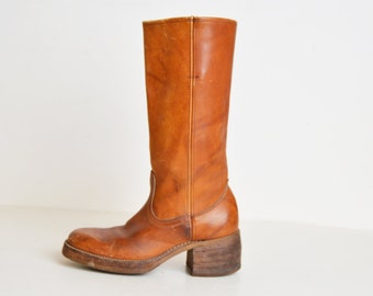 Vintage 70s Brown Campus BOOTS / 1970s Brown Leather Boots, 7 1/2