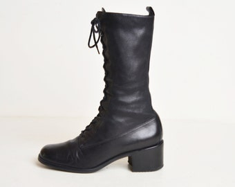 Vintage 90s Black Leather Lace Up Boots / 1990s Granny Boots 7 37