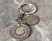 "1 - ""I love you a Bushel and a Peck and a Hug around the Neck""  Keychain, family sentiment, friendship key chain, , grand kid jewelry"