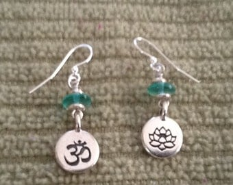 Silver Om Lotus Drop Earrings