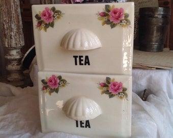 Vintage Tea Caddy, Antique Home Decor/ Edwardian Kitchen Decor Ceramic Tea Drawer Cottage Chic