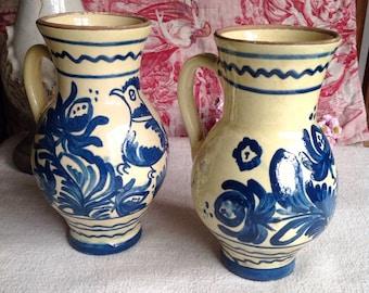 Antique French Earthenware Jar White & Blue Pot Decorative Antique Pottery Rustic Farmhouse