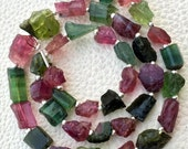 Brand New,Rare Brand New, Amazing Natural AFRICAN Multi Tourmaline Hammered Rock Nuggets Full Drilled ,8-12mm,Full 8 Inch Strand.