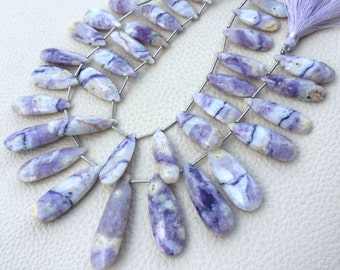 Brand New, 1/2 Strand, PERUVIAN Lavender Opal Faceted Elongated Pear Briolettes, 28-24mm,Amazing Quality at Low Price,Superb