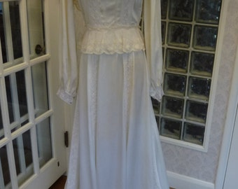 Reserved~Vintage 70s 1970s Victorian Wedding Dress Ivory Satin Lace Off Shoulder Long Sleeve Train Bustle Romantic Wedding Gown S Small