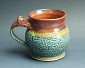 Pottery beer mug,  ceramic mug, large stoneware stein, iron red 16 oz 3254