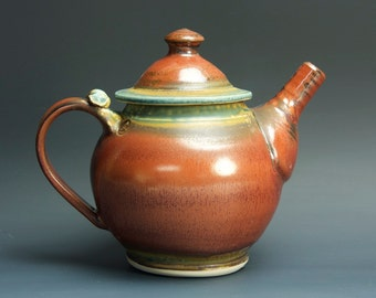 Stoneware teapot, pottery tea pot, ceramic teapot brick red 24 oz 3235