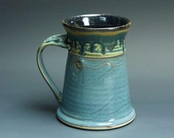 Handmade white stoneware coffee mug teacup glossy medium blue 14 oz 3387