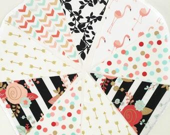 Flamingo Floral Fabric Bunting, Flamingo Birthday Banner, Mint, Coral, Metallic Gold, Black Bridal Shower, Wedding Garland, Birthday Party