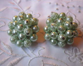 Vintage Silver Tone Mint Green Glass Beaded Clip On Earrings from Japan