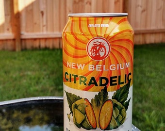 Up-cycled Beer Candle, Soy Wax Candle, Beer Can Candle, New Belgium, Citradelic Tangerine IPA, Man Cave Gift, Bayberry