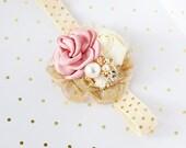Glow My Way - rose blush gold and ivory rosette and chiffon headband bow