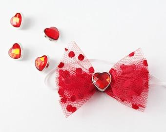 Tullish Games red polka dot tulle bow headband