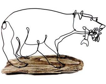 Bear with Fish Wire Sculpture, Bear Art, Bear Wire Sculpture, Minimal Sculpture, 265361788
