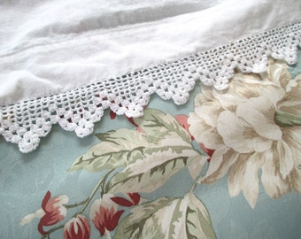 Vintage Crochet Flat Sheet Twin White Antique Sheet