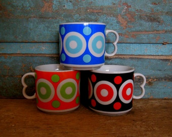 Dot Mugs Set of 3 Vintage Black Orange Green Blue Red
