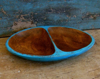 Turquoise Display Divided Tray Distressed Wooden Small Shallow