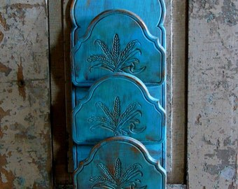 Turquoise Painted Wood Distressed Mail Bill Letter Organizer