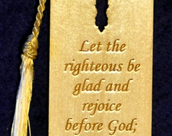 Wood Scripture Bookmark - Psalm 68:3 with Leaf Cross
