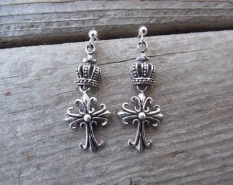 Medieval Cross earrings with a crown handmade in sterling silver