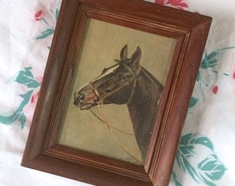 Vintage Horse Painting, Horse Portrait, Framed Painting, 1940s Painting