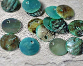 Dyed Mussel shell drops light teal, 10mm, drilled 1 hole, #335