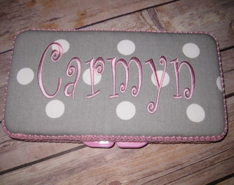 Travel Baby Wipe Case - Pink Grey White Dots- Personalization Available