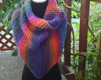 Hand Knit Shawl Stole Wrap Triangle Scarf in Rainbow Shades