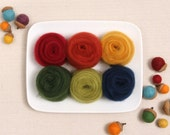 Wool Roving  // Autumn Colors // Corriedale Roving, Needle Felted Leaves, Wet Felting, Fall Crafts, Wool Sliver, Felt Acorns, Weaving