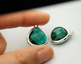 20 pcs emerald  green drop , green pendant green cz pendant