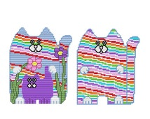 Plastic Canvas Psychedelic Kitties Wall Hangings Instant Download