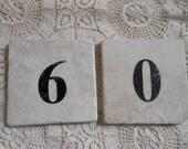 Numbered Alabaster Marble Tile 6 9 0 Vintage at Quilted Nest
