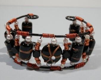 Avant Garde Beaded Cuff Fashion Bracelet Copper Wrapped Wire Black Lampwork White Pearled OOAK Southwestern Native American Boho Gypsy Style